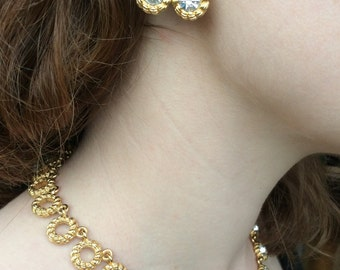 Gorgeous Gold Vendome Rhinestone Necklace and Earrings - Set