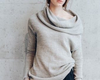 Knitted Sweater. Pure Aplaca Wool Sweater. Cowl Neck Long Sleeve Pullover. Grey Knitted Sweater. Wide Turtleneck.