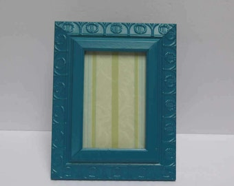Regency 4 x 6  Picture Frame Painted Blue Green Lagoon Hollywood Regency Frame Laurel Wreath design