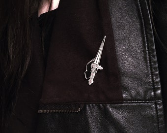 Limited Edition Black Dagger Soft Enamel Large Lapel Pin with Double Backing