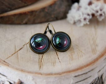 Camera Lens Earrings, Antique Bronze, Glass Cabochon,  Photography Earrings, Camera Jewelry