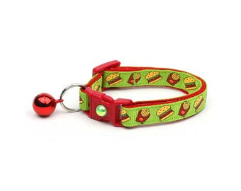 Cheeseburger Cat Collar - Burgers and Fries on Green- Small Cat / Kitten Size or Large Size