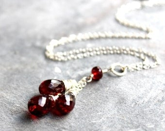 Teardrop Garnet Necklace Sterling Silver January Birthstone Trio Red Gemstone Briolettes, Pendant Necklace