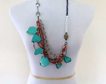 Tribal African Necklace, Bohemian Turquoise Necklace, Colorful Boho Necklace, Long Chunky Necklace, Multistrand Necklace, Cyber Monday