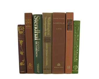 Brown Green Vintage  books,  old books,  books for decorating, home decor books, book set ,  wedding table decoration, book centerpiece