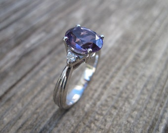 Amethyst Antique Engagement Ring, Antique 18k gold ring with Amethyst, Antique Amethyst Engagement Ring, Vintage oval Engagement Ring