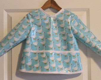 Classic Length Kids Art Smock Kids Painting Apron in Light Blue Geese Print