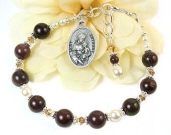 St. Anthony Chaplet Bracelet, St. Anthony Niner Chaplet Rosary Bracelet, Catholic Prayer Beads, Inspirational, Patron Saint of Lost Stolen
