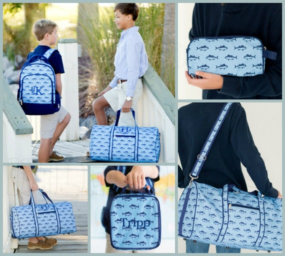 Boys Monogrammed Nautical Fish Travel Collection.  Bookbag, Lunchbox, Duffle Bag, Toiletry Bag