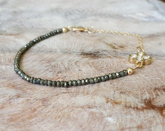 Gold Pyrite Bracelet with CZ Clover Charm