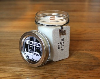 White Tea Soy Candle - Plantable Tag - Soy Wax - Wood Wick - Wildflower Seed Tag - 8 oz. Soy Candle - Americana
