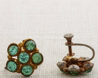 Vintage Rhinestone Earrings Clip On Aqua Flower Gold Mint Green Turquoise Clipons | Vtg 7B