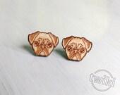 Pug wood earring studs. -- cute pug earrings, sad pug earrings, pug wood earrings, pug studs, pug earrings HYPOALLERGENIC pug dog earrings