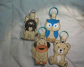 Yorkshire Terrier, Bear, Owl and Monkey Key Fob