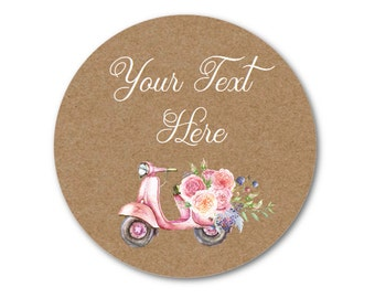 "Custom Labels - Floral Stickers - Custom Wedding Stickers - Custom Product Labels - Pink Roses - 1.25"", 1.5"" or 2"""