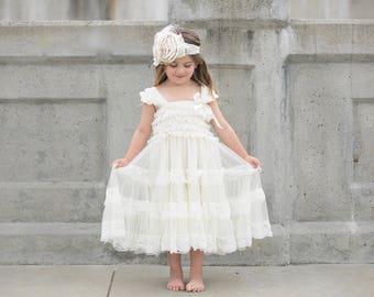 lace ivory flower girl dress, flower girl dresses for rustic wedding, country wedding flower girl dress, baby ivory dress, posh peanut dress