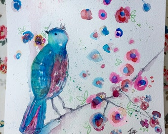 It's A New Day - original watercolour sketch, mixed media, feminine art, flowers, bird, whimsy, by Jane Hinchliffe