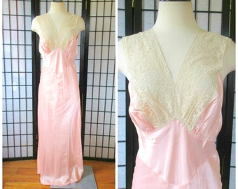 Vintage 1930s 1940s Negligee Soft Peach Pink Silk Charmeuse with Beige Lace Maxi Long Nightgown 38 M L Slip Dress Medium Large