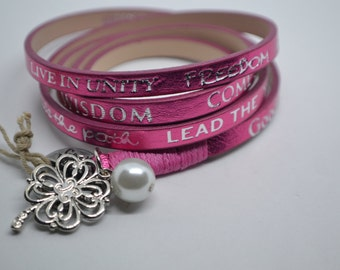 Humanity For All Freedom Mettalic Pink Leather Wrap Clover Charm Bracelet