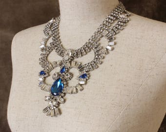 Blue bridal necklace, and Blue Crystal Rhinestones Necklace, Statement necklace, Crystal Statement Necklace, Crystal necklace, Prom Necklace