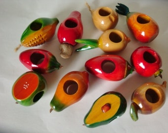 Carved Colorful Wood Fruit and Vegetable Napkin Rings Set of 12