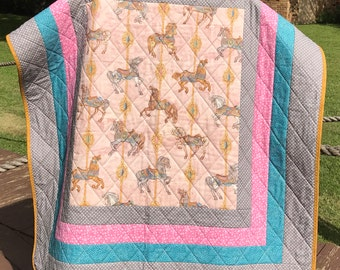 "Vintage Carousel Horses, Antique Gold, Gray, Pink and Blue Aqua All Together In This 42"" X 45"" Vintage Modern Quilt"