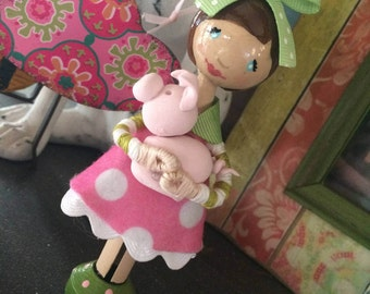 Cake Topper, Ornament, Clothespin Doll, Hand-painted, Piggy-toting Girl
