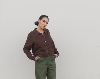 Linen jacket Vintage brown linen shirt