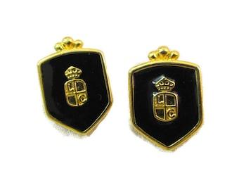 Liz Claiborne Earrings Black Enamel Earrings Shield Earrings For Pierced Ears Chunky Jewelry Vintage Liz Claiborne Jewelry