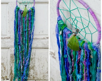 Boho Dreamcatcher, Gypsy Style, Bohemian Home Decor, Blue, Green, Purple, Hippie, Sari Silk, Wall Hanging, Nursery Mobile, Dream Catcher