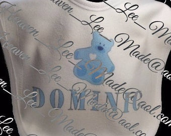 Blue Teddy Bear Fleece Baby Bib