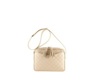 Leather shoulder bag MARA // beige, cream quilted (Italian calf skin) - FREE shipping, unique