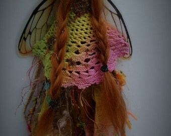 sweet sleepy  fairy fairie with faux dragonfly wings and fairy trims  ooak