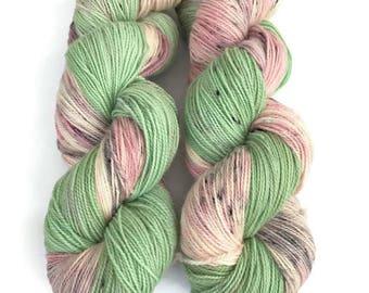 Pink Superwash Yarn,  Speckled Sock Yarn, Washable Sock Yarn, Crochet, Indie Dyed Yarn