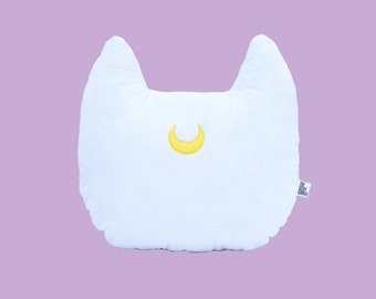 Sailor Moon Artemis Inspired Cat Head Silhouette Decorative Minky Fleece Pillow - MADE TO ORDER