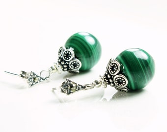 Natural Malachite Earrings, Sterling Silver, green gemstone, boho earrings, marcasite stud earrings, fancy earrings, holiday gift for her