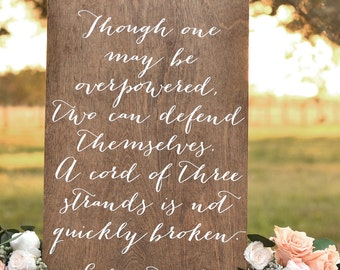 A Cord of three Strands Sign, Wedding Verse Sign, Bible Verse Sign, Wooden Wedding Signs, Calligraphy Signs