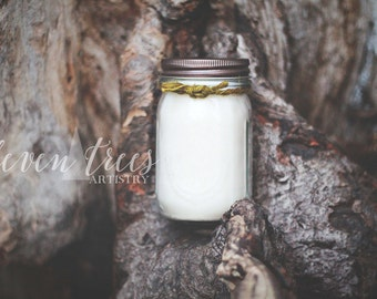 soy candle 16oz // pine scented candle. woodland rustic candle. pint mason jar. meditation, aromatherapy, natural, handmade.