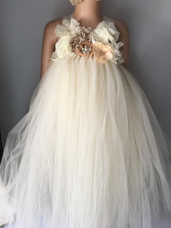 Rustic ivory champagne flower girl dress flower girl tutu dress ...