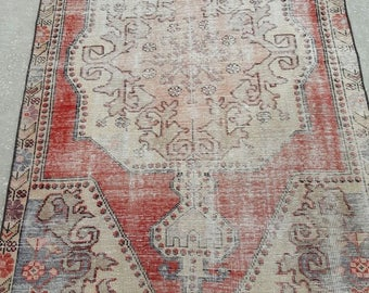 Vintage Oushak Rug / 4 by 7 / Muted / Pastel / Copper-Gray / Boho / Low-Pile / Distressed Rug - 86 in x 48 in