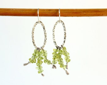 Raw Stone Earrings Green Peridot Dangle Earrings Boho Chic Jewelry Small Sterling Silver Hoop Earrings
