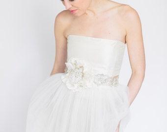 Bridal Wedding Sash, bridal accessory, wedding fashion, bridal sash, bridal belt, silk flower wedding sash, abigail grace bridal