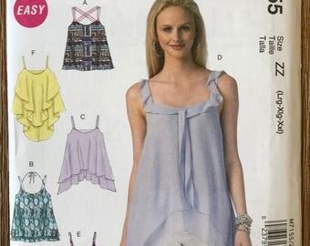 UNCUT Misses' Top Sewing Pattern McCall's 7155 Blouse, Shirt, Peplum, Ruffle, Tank Top Size L-XXL