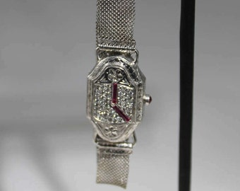 14K/19K White Gold Diamond and Ruby 5:00 Bracelet