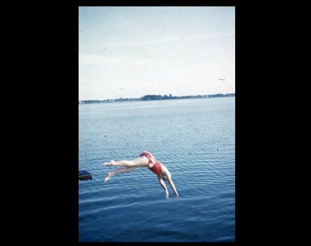 Dive, 1950s: Kodachrome Red Border 35mm Slide/Transparency Vintage Photo Snapshot (7316-22)
