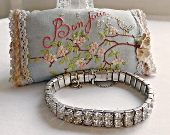 Vintage Rhodium Electroplate Prong Set Paste Rhinestone Double Line Bracelet