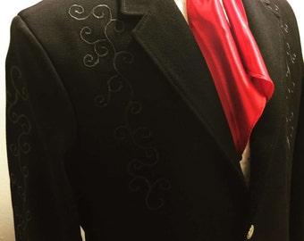 Men's black wool custom jacket size 44