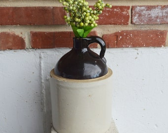 Vintage Dark Brown/Gray Stoneware Whiskey Jug