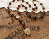 Gilded Rubies Necklace rosary necklace heart necklace statement necklace red necklace saint necklace