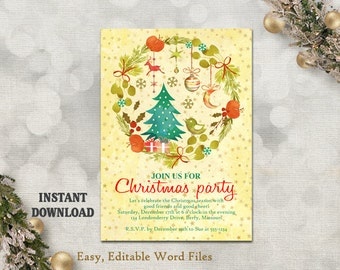 Christmas Party Invitation Template   Printable Holly Wreath   Holiday Party  Card   Christmas Card    Birthday Party Card Template